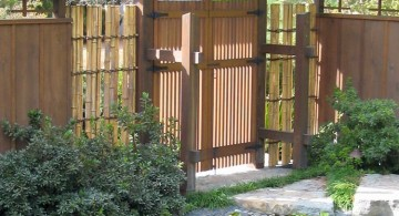 japanese style backyard with Japanese style gate and koi pond