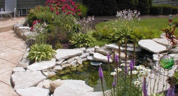 japanese style backyard with koi pond