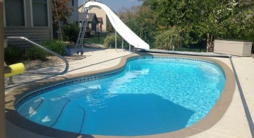 kidney shaped swimming pools with slide