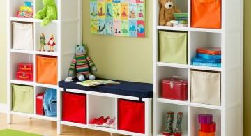 kids playroom design ideas with short white shelves