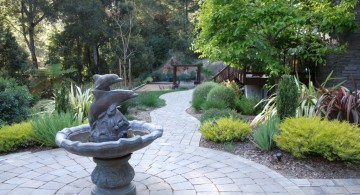 landscape fountain design ideas with dolphin shaped fountain