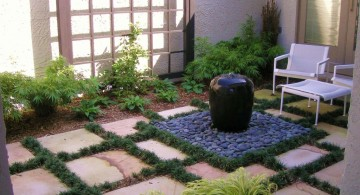 landscape fountain design ideas with small fountain jug for small space