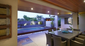 lap pool designs next to dining room