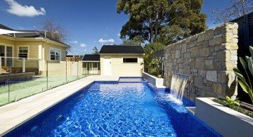 lap pool designs with small waterfalls