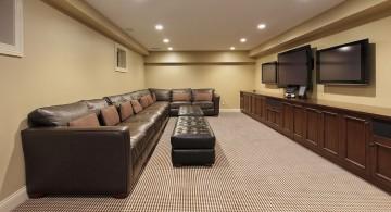 lighting ideas for basement with long sleek sofa