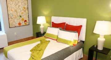 lime green accent walls for guest bedroom