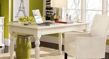 lime green accent walls for home office