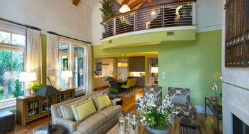 lime green accent walls for living room with indoor balcony