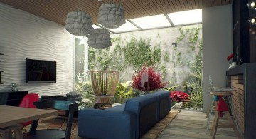 living room with skylight ideas with connected inside garden