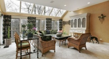 living room with skylight ideas with rattan furnitures