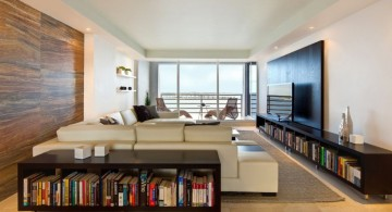 long living room ideas with wide TV and low bookshelves