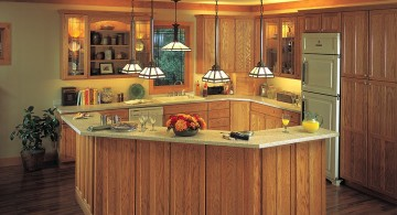 low mini pendant lights over kitchen island for low ceiling and wood panelled floor