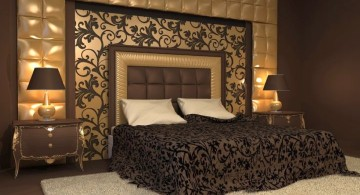 luxurious in black and gold bedroom wall panel design ideas