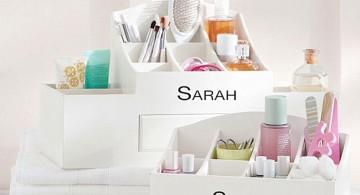 make up storage cabinet ideas with monogram