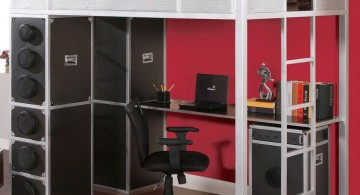 masculine loft bed with desk white