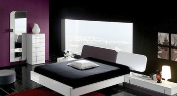 masculine pink and black bedroom decor with black wall and darker pink shade