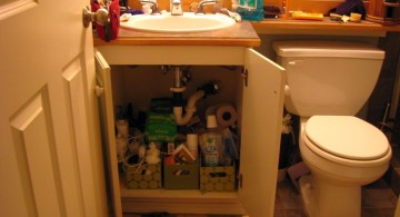 messy under the sink make up storage cabinet ideas