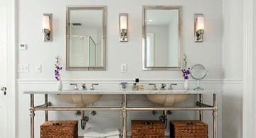 minimalist Bathroom vanity lighting ideas with industrial rack