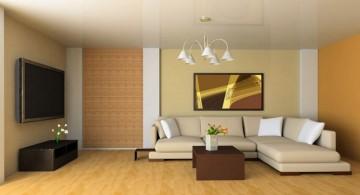 minimalist Japanese inspired beige living room walls