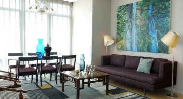 minimalist contemporary blue and brown living room