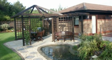 minimalist contemporary japanese style backyard with pergola