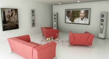 minimalist entertainment room in red and white