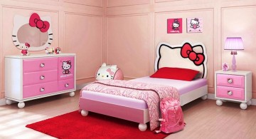 minimalist hello kity girls bedroom designs with hello kitty mirror