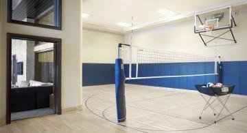 minimalist indoor home basketball courts