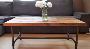 minimalist industrial wood coffee table designs