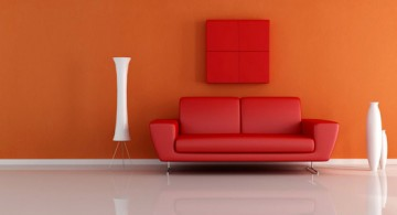 minimalist modern furniture in red couch