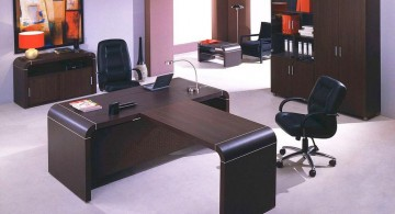 minimalist office furniture in dark wood