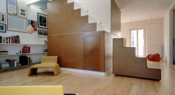 minimalist polished wooden tile flooring ideas for living room
