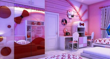 mirrored hello kity girls bedroom designs