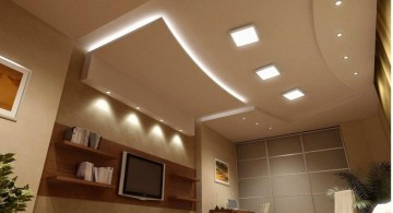 modern ceiling design ideas for living room with square lamps