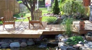 modern deck design with koi pond for small space
