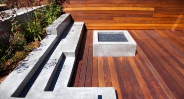 modern deck design with small fireplace