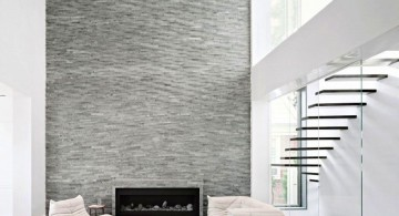 modern fireplace designs with glass in grey and white design