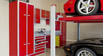 modern garage designs and inspiration with fire engine red cabinets