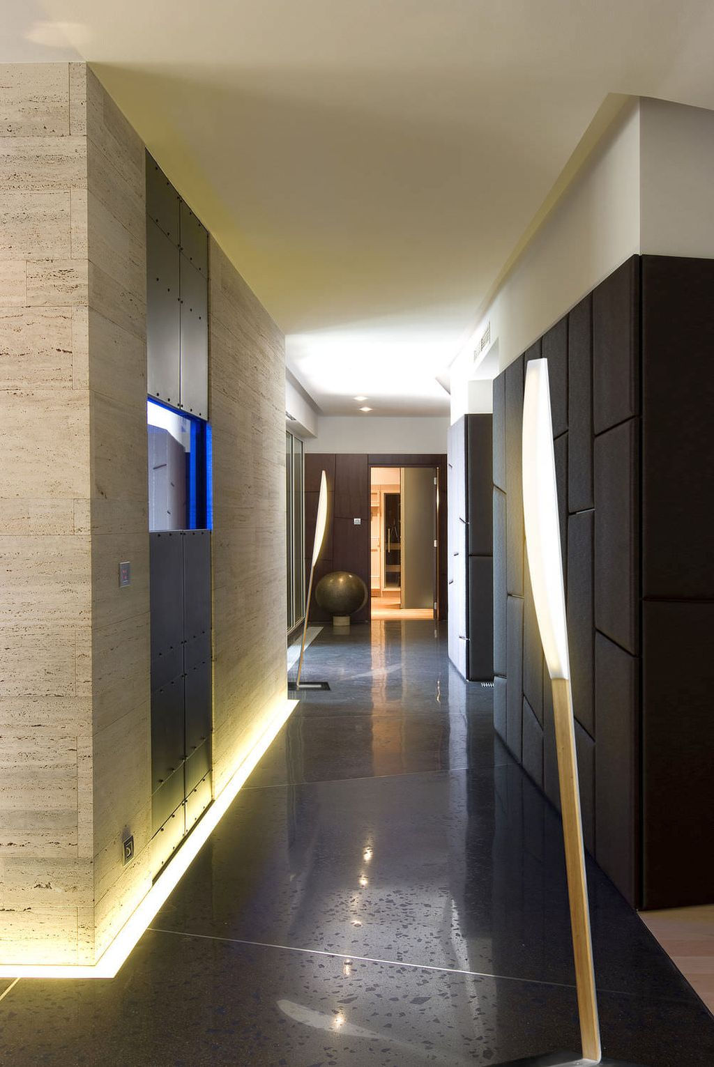 modern hallway decorating ideas in dark wood color for ...