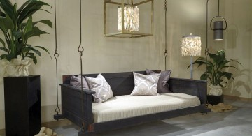 modern hanging swing bed in monochrome