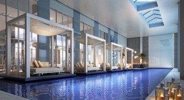 modern indoor swimming pool designs with floating sidepool beds