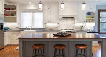 modern low mini pendant lights over kitchen island