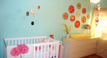 modern nursery room design ideas in blue and pink