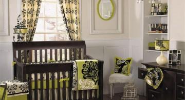 modern nursery room design ideas in green with classic chandelier