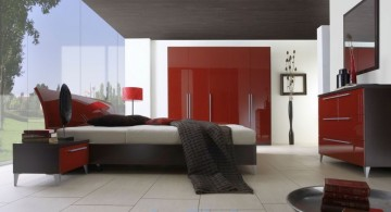 modern red black and white bedroom ideas