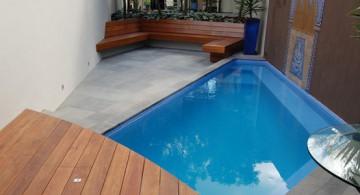 modern swimming pool in pretty small backyard