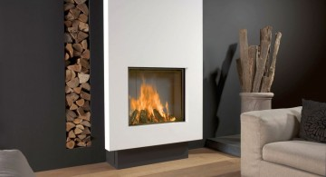 modern white fireplace design in nature themed room