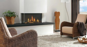 modern white fireplace design on a lounge
