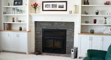 modern white fireplace design with brick wall
