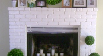 modern white fireplace design with festive decorations